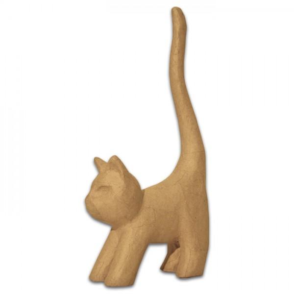 Katze stehend Pappmaché 9,3x3,5x16,5cm Größe XS, von Décopatch