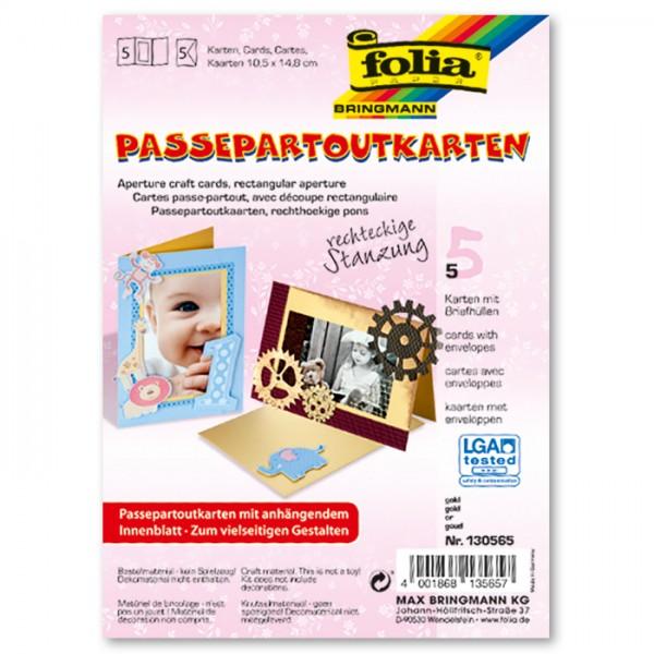 Passepartoutkarten DIN A6 5 St. Rechteck gold inkl. Kuvert&Einlegeblatt, 220g/m²