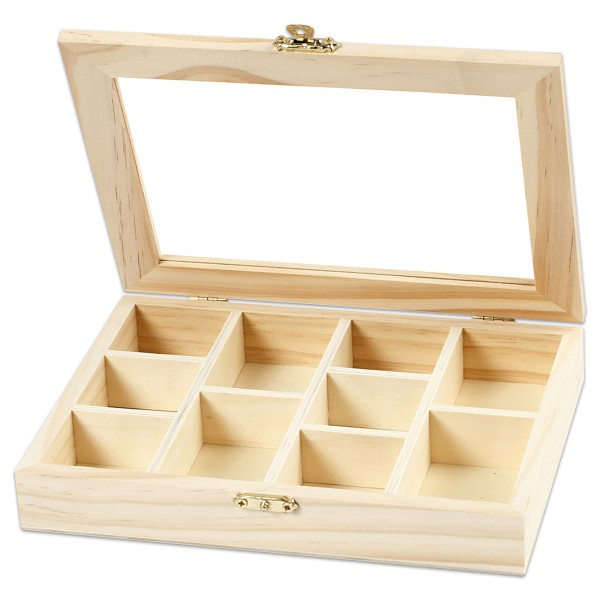 Holzkästchen mit Glasdeckel 15,5x20,5x3,5cm natur 10 Fächer in zwei Größen