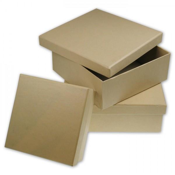 Pappschachteln Quadrat 3er-Set h5cm 12x12cm; h6cm 16x16cm; h6,5cm 18x18cm
