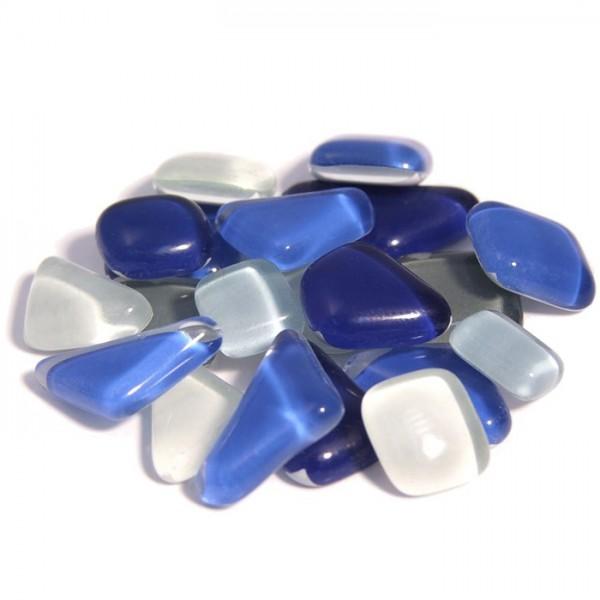 Mosaik Soft-Glas polygonal 1kg blau mix 5-20mm, 4mm stark, ca. 650 Steine