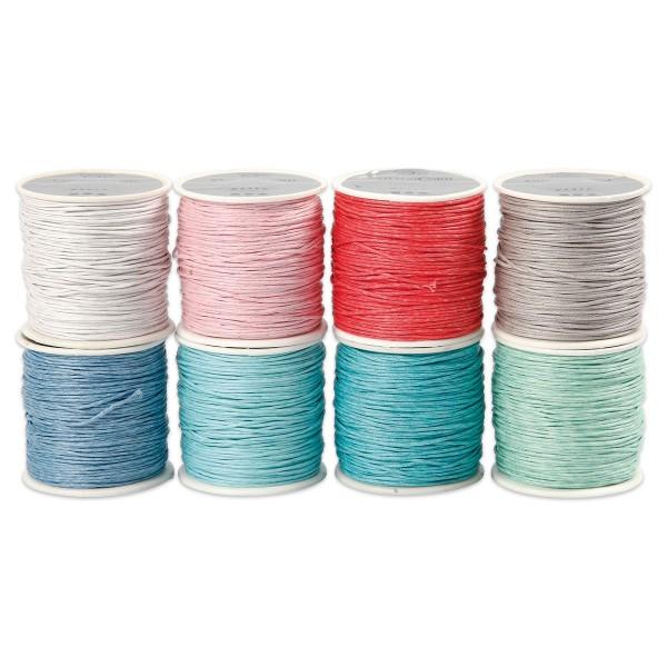 Baumwollband gewachst 1mm 8 Pastellfarben à 40m 100% Baumwolle