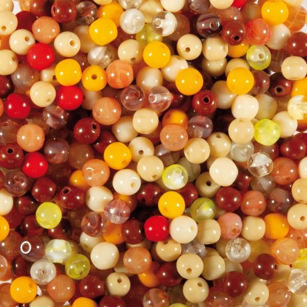 Glasperlen-Mix ca. 4mm 100g orange-braun Lochgröße ca. 0,8mm