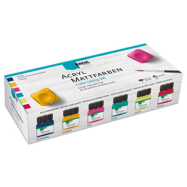 KREUL Acryl-Mattfarbe Set Color Living 6x20ml inkl. Pinsel