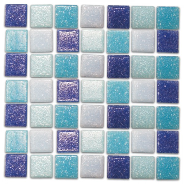 Glasmosaik Joy 20x20x4mm 1kg blau mix ca. 350 Steine