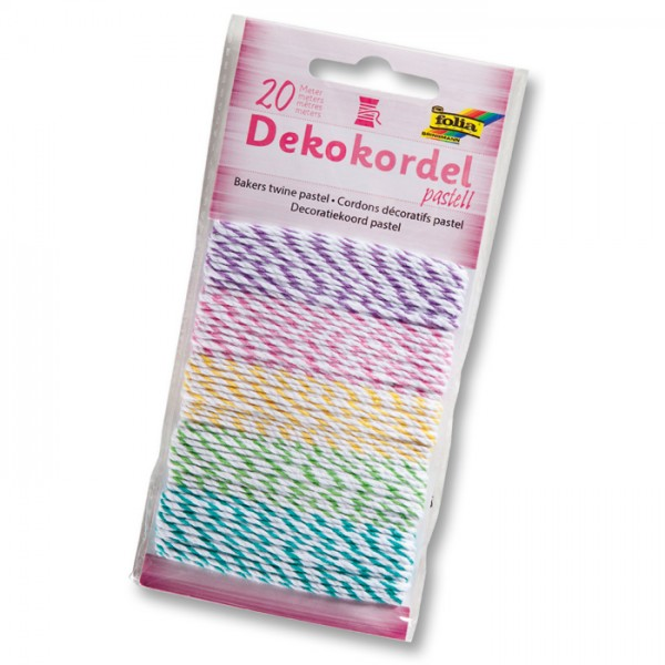 Dekokordel 5 St. à 4m zweifarbig pastell 100% Baumwolle