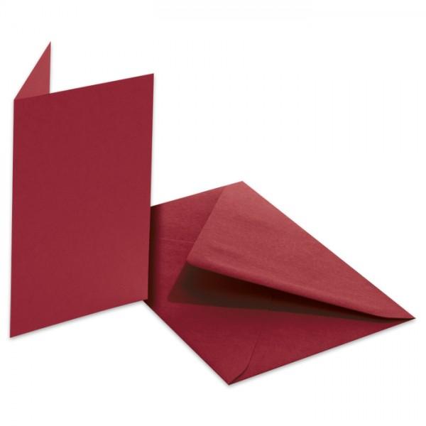 Doppelkarten 220g/m² 10,5x15cm 5 St. dunkelrot inkl. Kuvert&Einlegeblatt