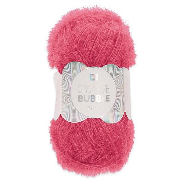 Creative Bubble Wolle 50g ca. 90m pink Nadel Stricken Nr. 2, Häkeln Nr. 4, 100% Polyester