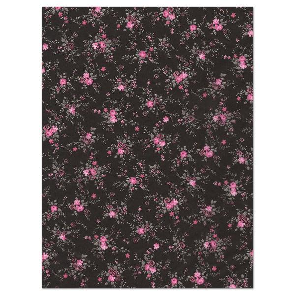 Decoupagepapier pinke Röschen auf schwarz von Décopatch, 30x40cm, 20g/m²