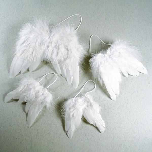 Engelflügel Federn 9,5x7,5cm 2er-Set weiß mit Aufhängekordel
