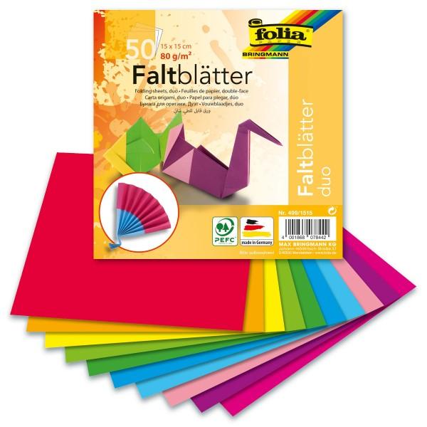 Faltblätter Duo 80g/m² 15x15cm 50 Bl./10 Farben