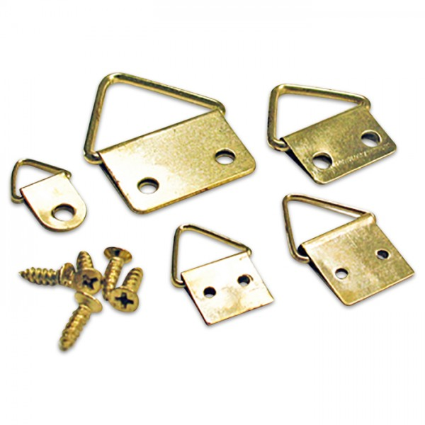 Bilderösen 5 Größen 24 St. vermessingt 8x1-26x16mm, Metall, inkl. Schrauben