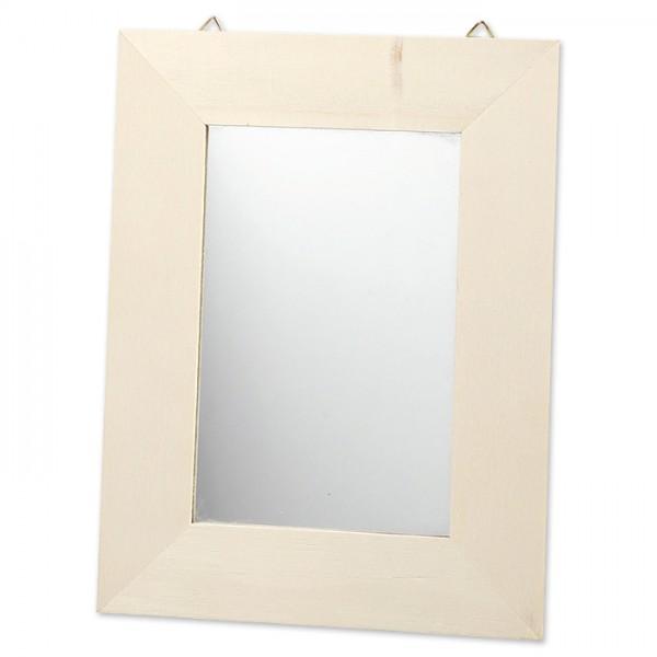 Holzrahmen mit Spiegel 208x159x6mm natur Ausschnitt 92x142mm, zum Aufhängen