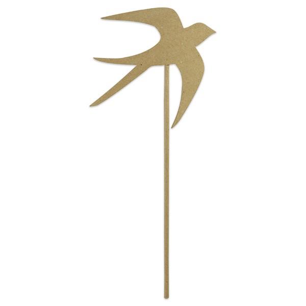 Stab mit Vogel Pappe ca. 17x17x35,5cm von Décopatch