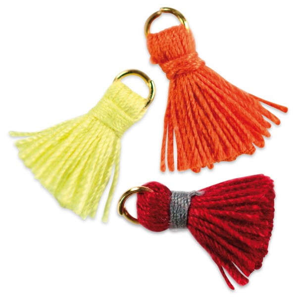 Quasten-Anhänger ca. 17mm 8 St. orange/gelb/rot Textil/Metall, Lochgröße ca. 2-3mm