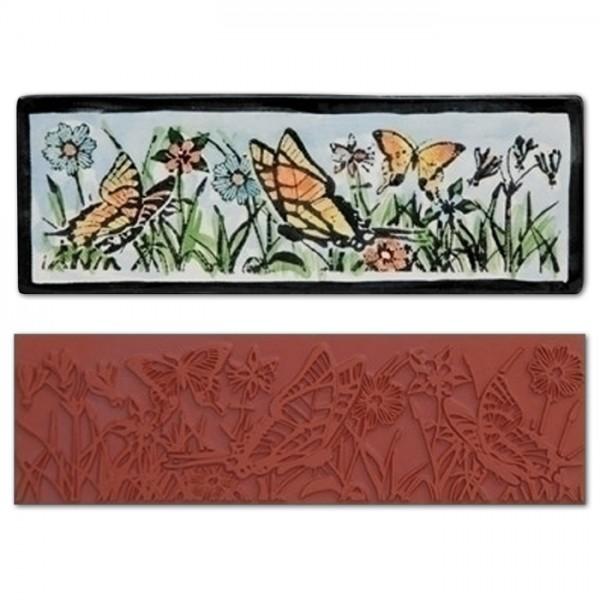 Stempelmatte Gummi 17x5,5cm Butterfly Garden