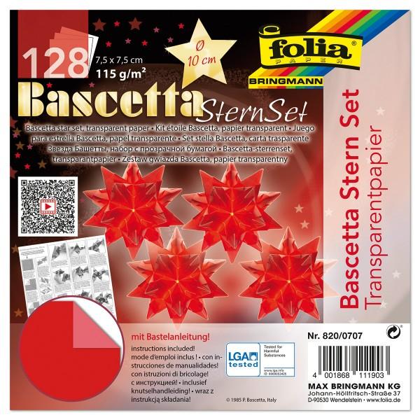Bascetta-Stern ca. Ø 10cm 128 Bl. rot 7,5x7,5cm, Transparentpapier, 115g/m²