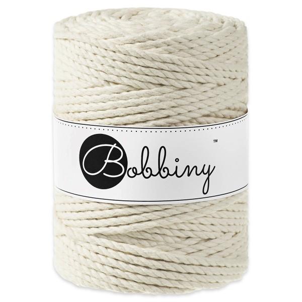 Bobbiny 3PLY Makramee-Kordel Ø5mm natural ca. 700g-800g, 100% Baumwolle, LL 100m, 3x60 Fasern