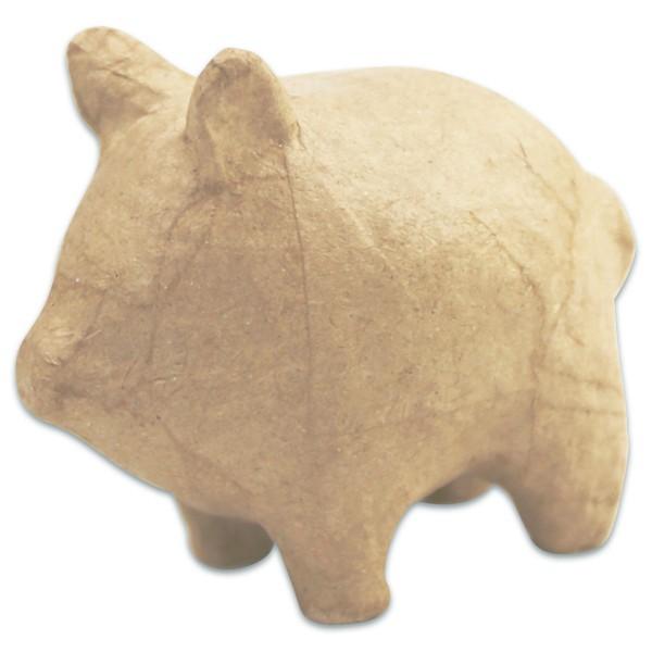 Schwein Pappmaché 8x5x7cm Größe XS, von Décopatch
