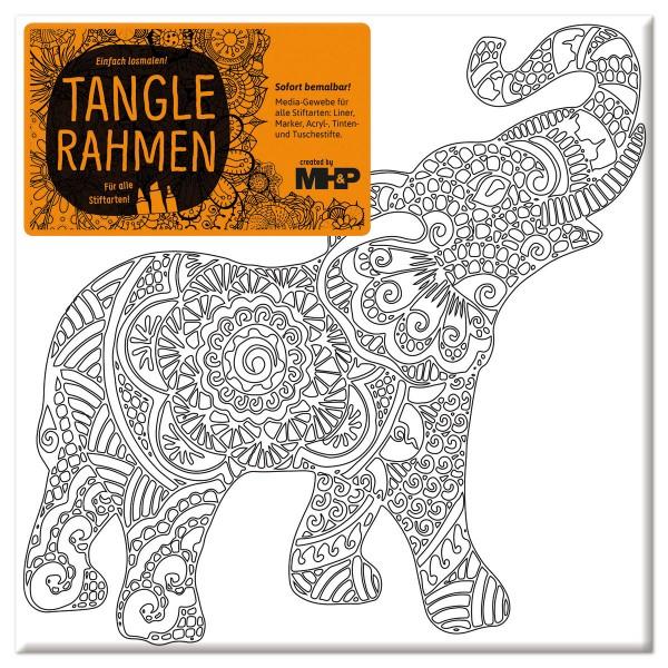 Tangle-Keilrahmen 20x20x2cm indischer Elefant