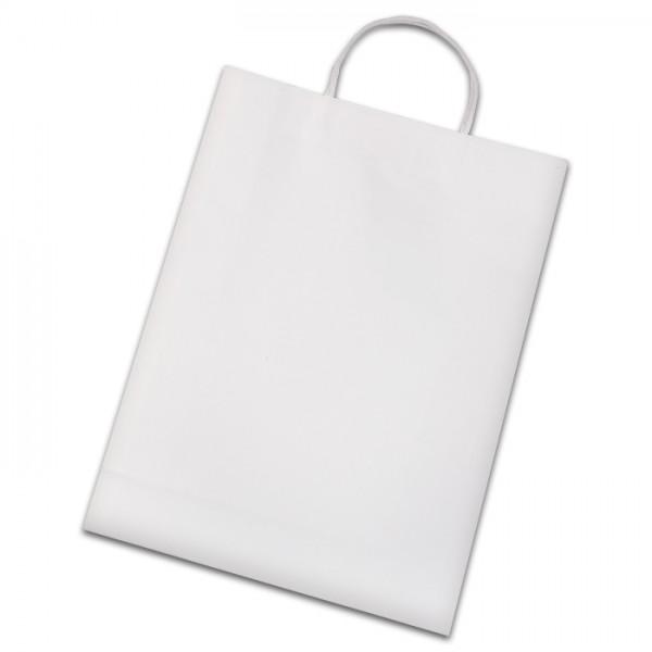 Papiertüten 110g/m² 31x11x42cm 15 St. weiß gedrehter Griff, Kraftpapier