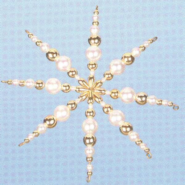 Kreativset Perlenstern ca. 12cm weiß-goldfarben Bastelset, Kunststoff/Metall