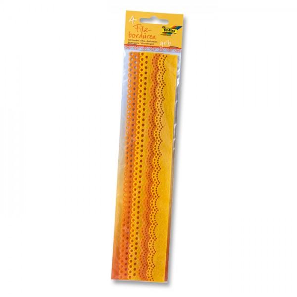 Filzbordüren 2 Designs 4 St. à 30cm gelb 25/30mm breit, 100% Polyester