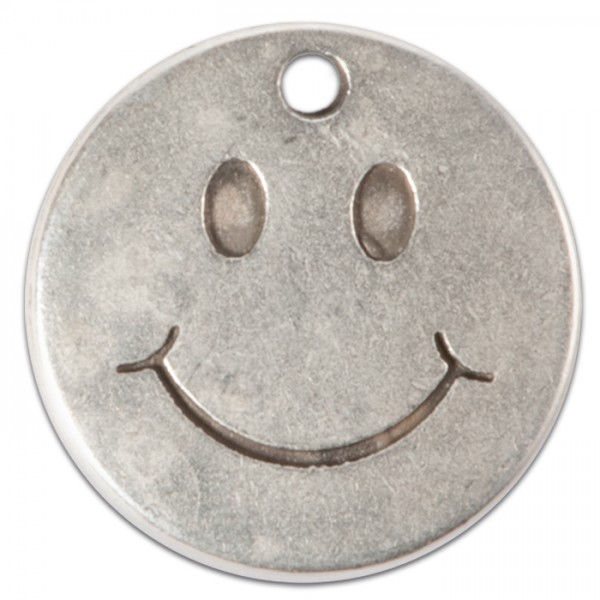 Metallanhänger Smiley Ø 20mm altplatinfarben Lochgr. ca. 2mm