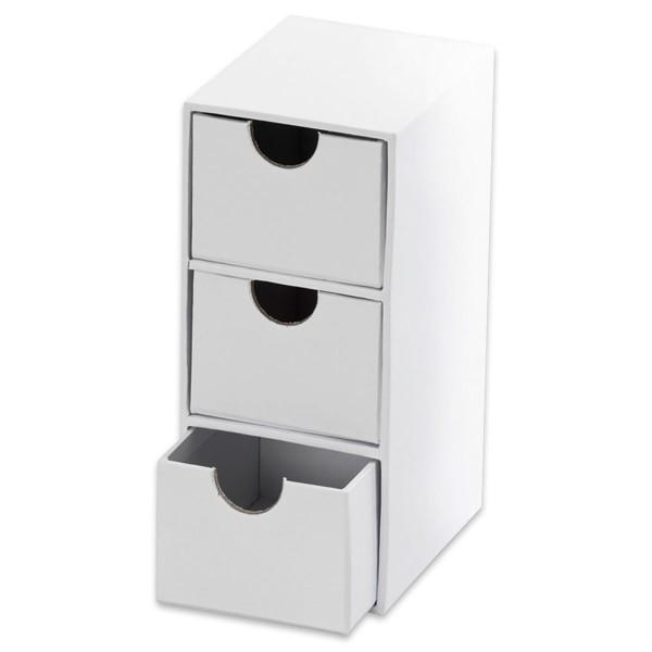 Mini-Kommode Karton 7x9,5x16cm weiß mit 3 Schubladen