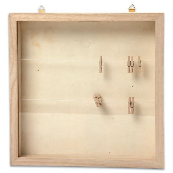 Holzrahmen mit Plexiglas-Schiebeabdeckung 23x23x3,5cm mit 2 Leinen & 8 Wäscheklammern