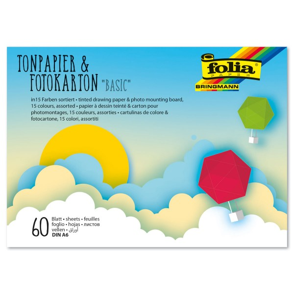 Tonpapier-/Fotokarton-Block Basics II DIN A6 60 Bl./15 Farben 130g/m² & 300g/m²