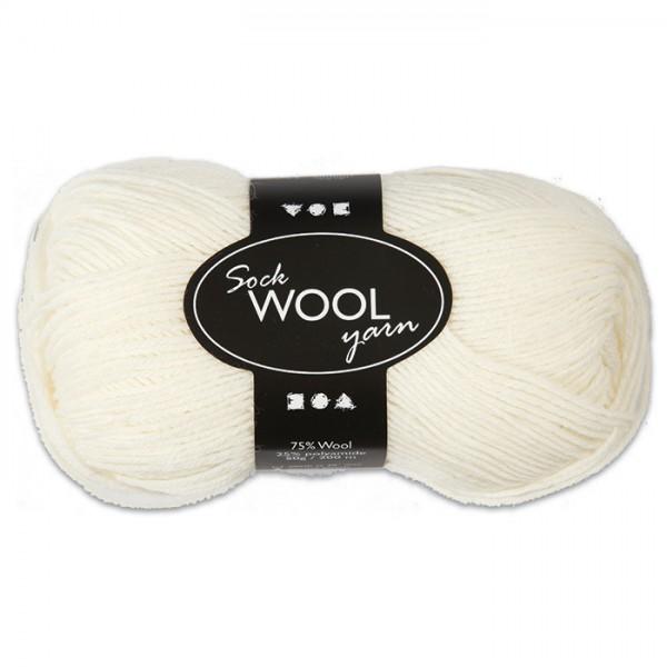 Sockenwolle 50g creme 75% Wolle, 25% Polyamid, für Nadel Nr. 2,5-3