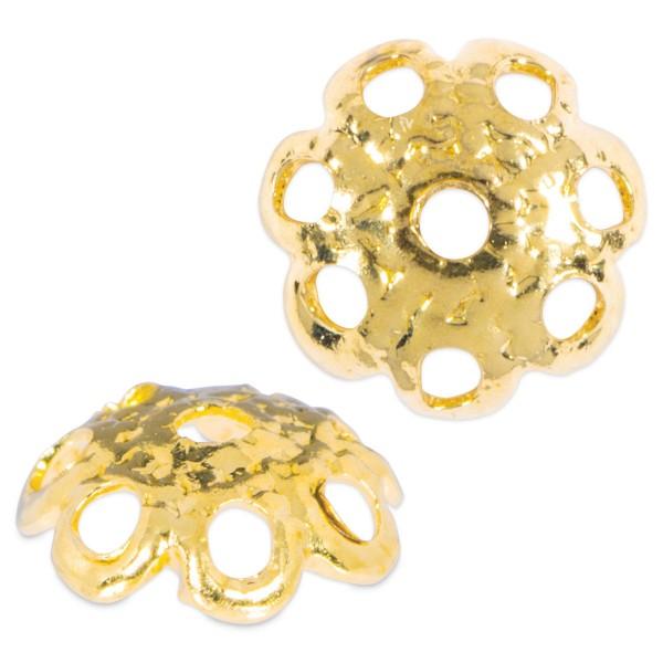 Perlkappen Metall 6mm 25 St. goldfarben Lochgr. ca. 0,9mm