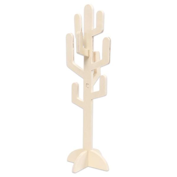 Kaktus freistehend Holz ca. 38x12x0,8cm natur 4 Teile zum Zusammenstecken