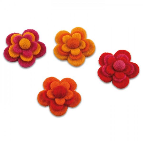 Filzblüten Ø 5cm 4 St. rot-gelb 100% Polyester