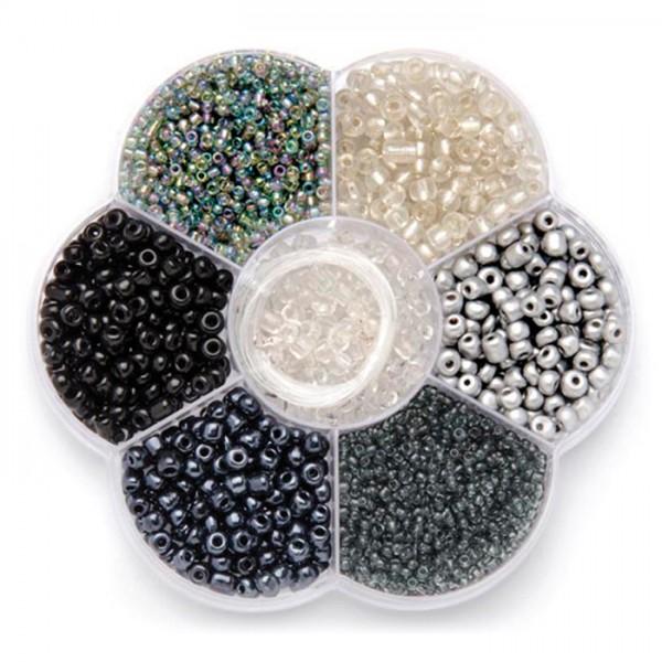 Rocailles Glas 2-4mm 90g schwarz-silberf. mix inkl. Zubehör, Lochgr. ca. 0,7-1,5mm