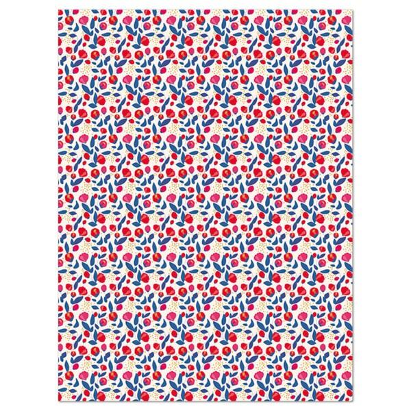Decoupagepapier Texture Blüten rot/blau auf weiß von Décopatch, 30x40cm, mit Metalliceffekt