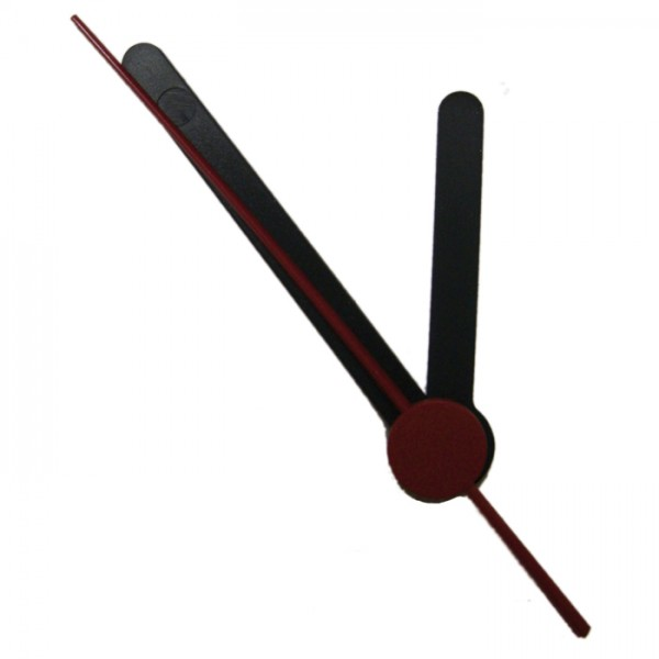 Uhrzeiger Kunststoff 37/53mm schwarz Rundstab mit Sekundenzeiger