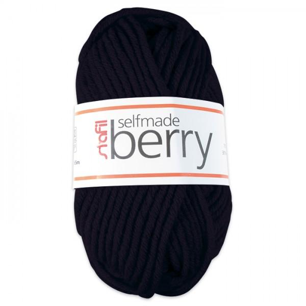 Wolle Berry 6-7mm 50g schwarz 70% Polyacryl, 30% Wolle