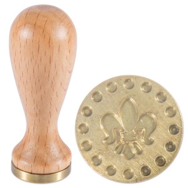 Siegelstempel Holz/Messing Ø 18x5mm Lilie
