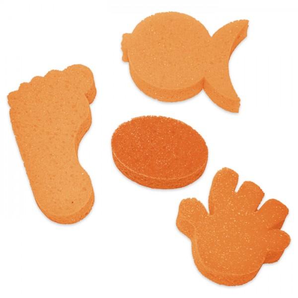Seifenschwämme Fuß/Fisch/Hand/oval à 1 St. orange 5-12cm, 3cm stark
