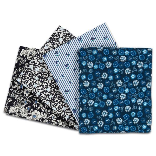 Patchwork-Stoff-Paket 4 Zuschnitte à 45x55cm blau 100% Baumwolle, 100g/m²