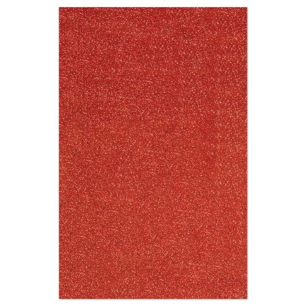 Glitzer-Moosgummiplatte 2mm 20x31cm rot Rückseite weiß