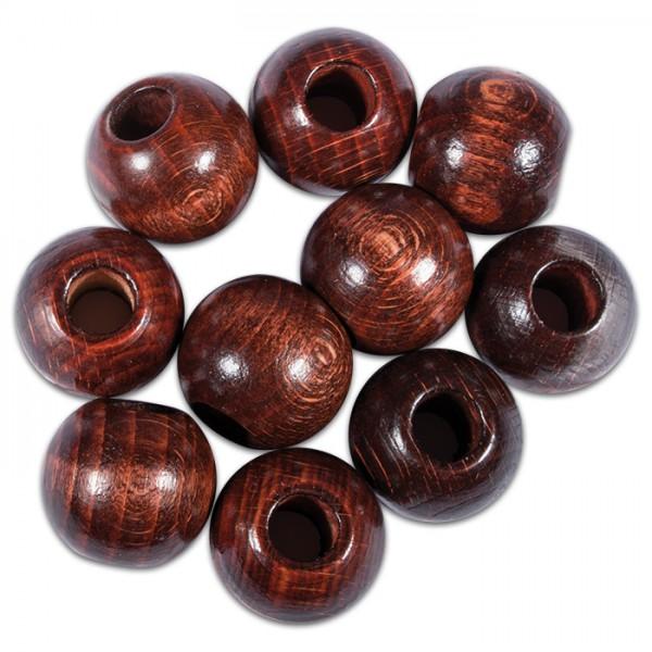 Rundperlen Holz Ø 25mm 10 St. braun lackiert Bohrung 10mm