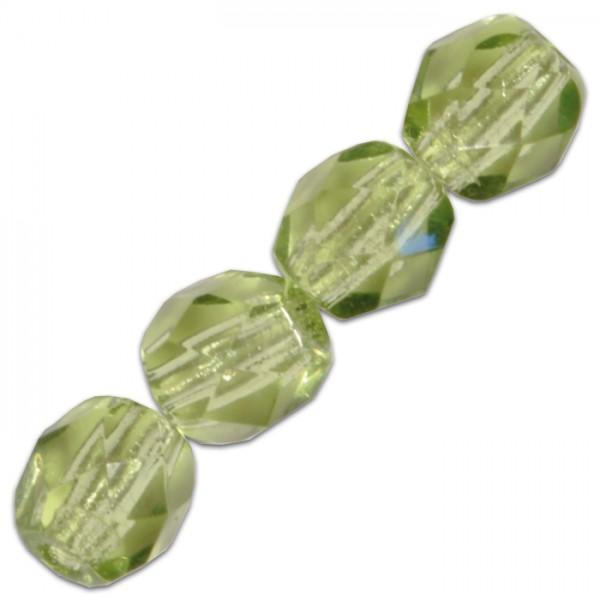 Facettenschliffperlen 6mm 50 St. oliv transparent, feuerpoliert, Glas, Lochgr. ca. 1mm