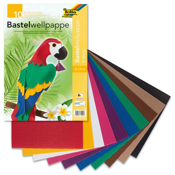 Bastelwellpappe 260g/m² 25x35cm 10 Bl./Farben
