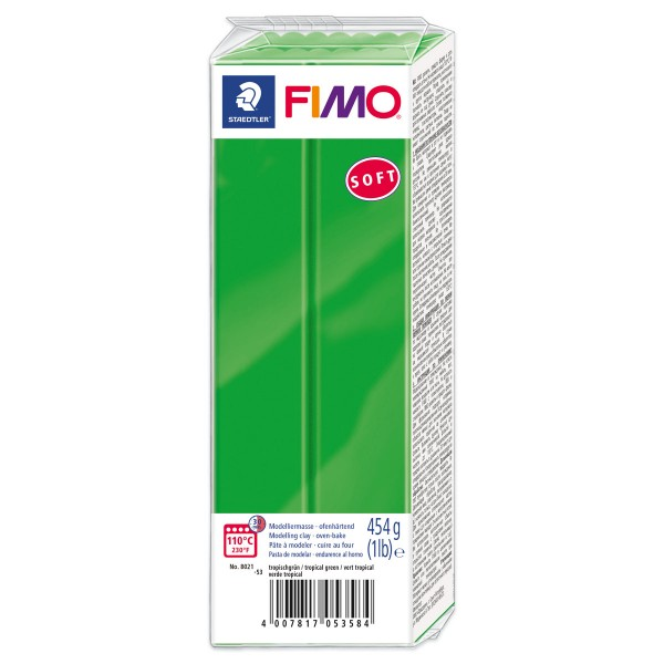 FIMO soft Großblock 454g tropischgrün ofenhärtende Modelliermasse