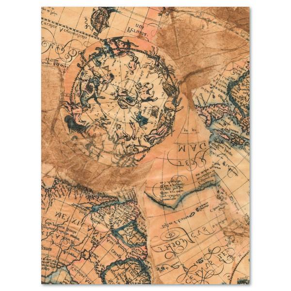 Decoupagepapier antike Landkarte von Décopatch, 30x40cm, 20g/m²