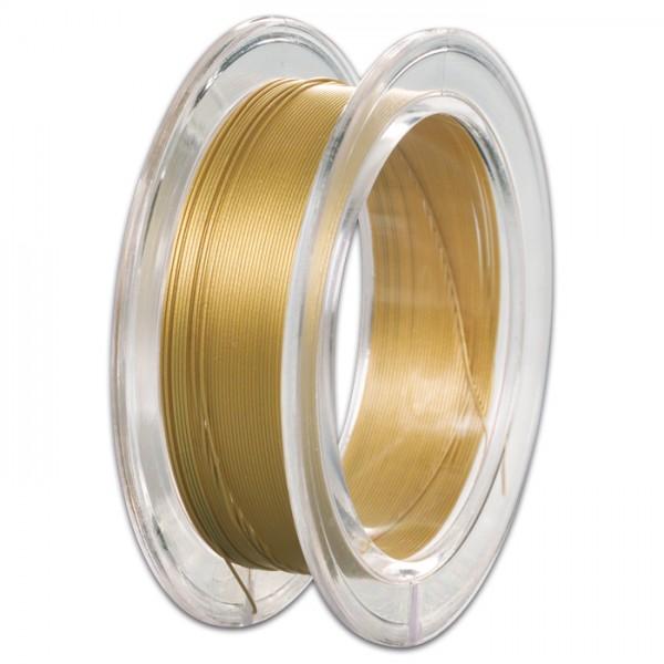Edelstahldraht 0,4mm 10m metallic goldfarben nylonummantelt