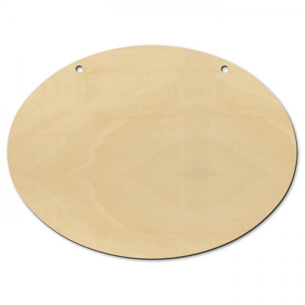 Türschild oval Holz 4mm 2 Bohrungen 19x14cm natur